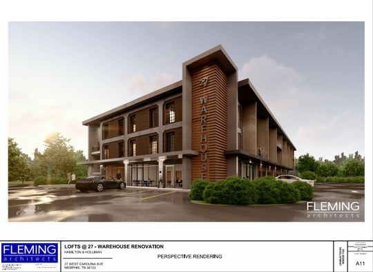 The 27 W. Carolina development will feature the renovation of a three-story warehouse, as seen in this rendering from Fleming Architects that was part of the project's application.