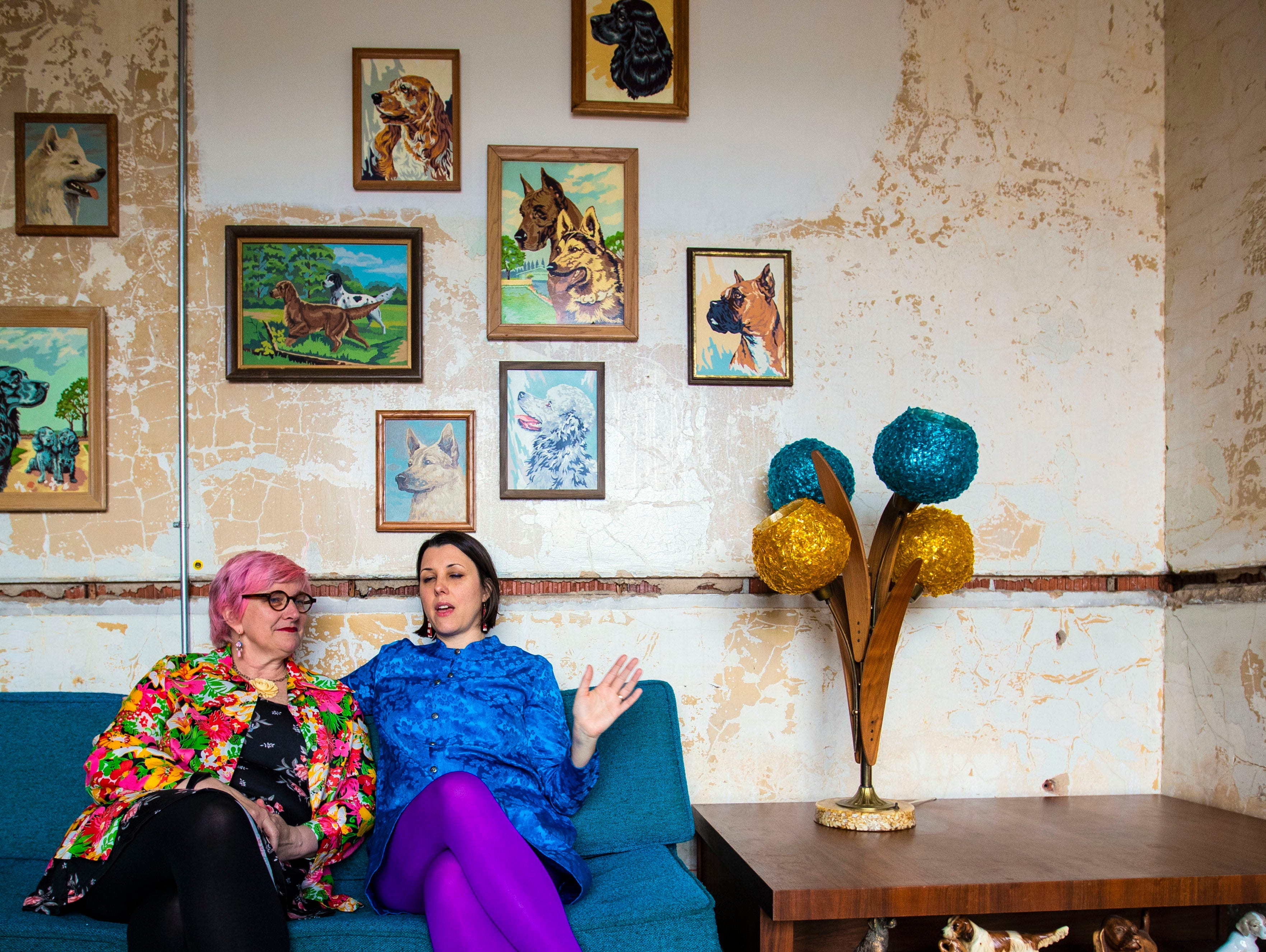 (Left) Amanda Sparks and Mary JoKarimnia, Crosstown Artsresidency directors, helped design the spaces in crosstown concourse. They handpicked the vintage furniture that decorates ArtBar.