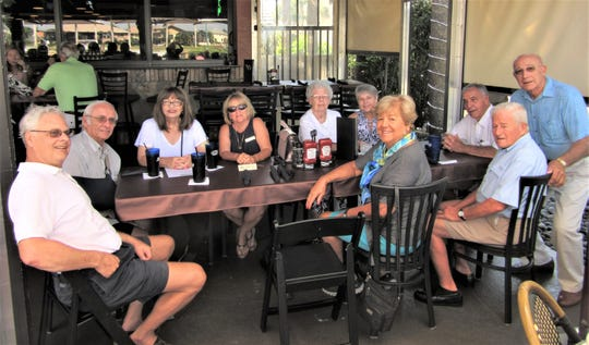 The Italian American Society of Marco Island celebrated a welcome back luncheon at the SpeakEasy. Above: Al Marschand, Donna DiFilippo & Thom Fisher, Ann Sepe , Lorraine Mazzotta, Judy D'Andrea, Anthony Mazzotta, Joe Silva, Faust D'Andrea and Ann Barnes are all smiles.
