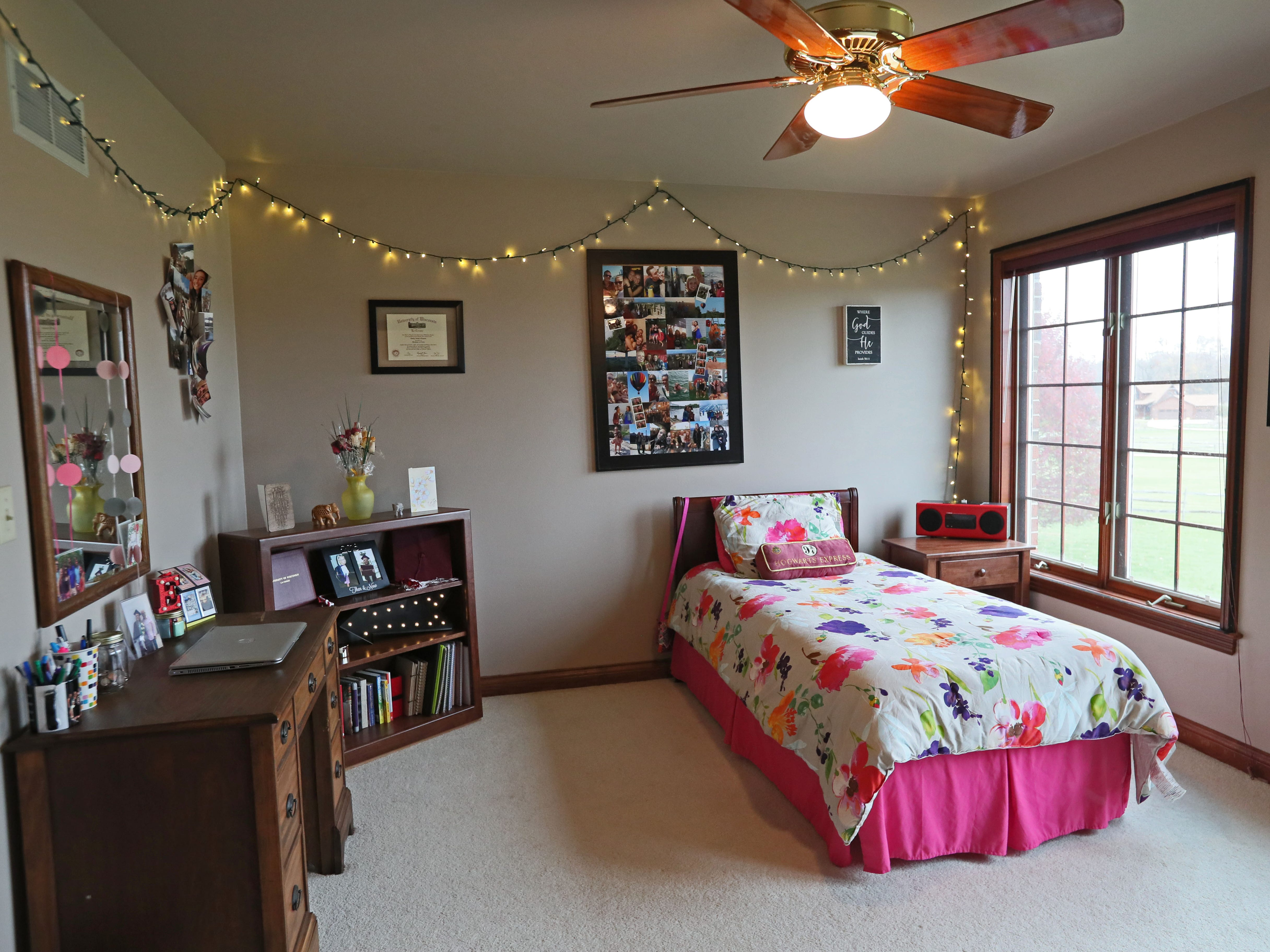 Even a daughter's bedroom is decked out with holiday lights.