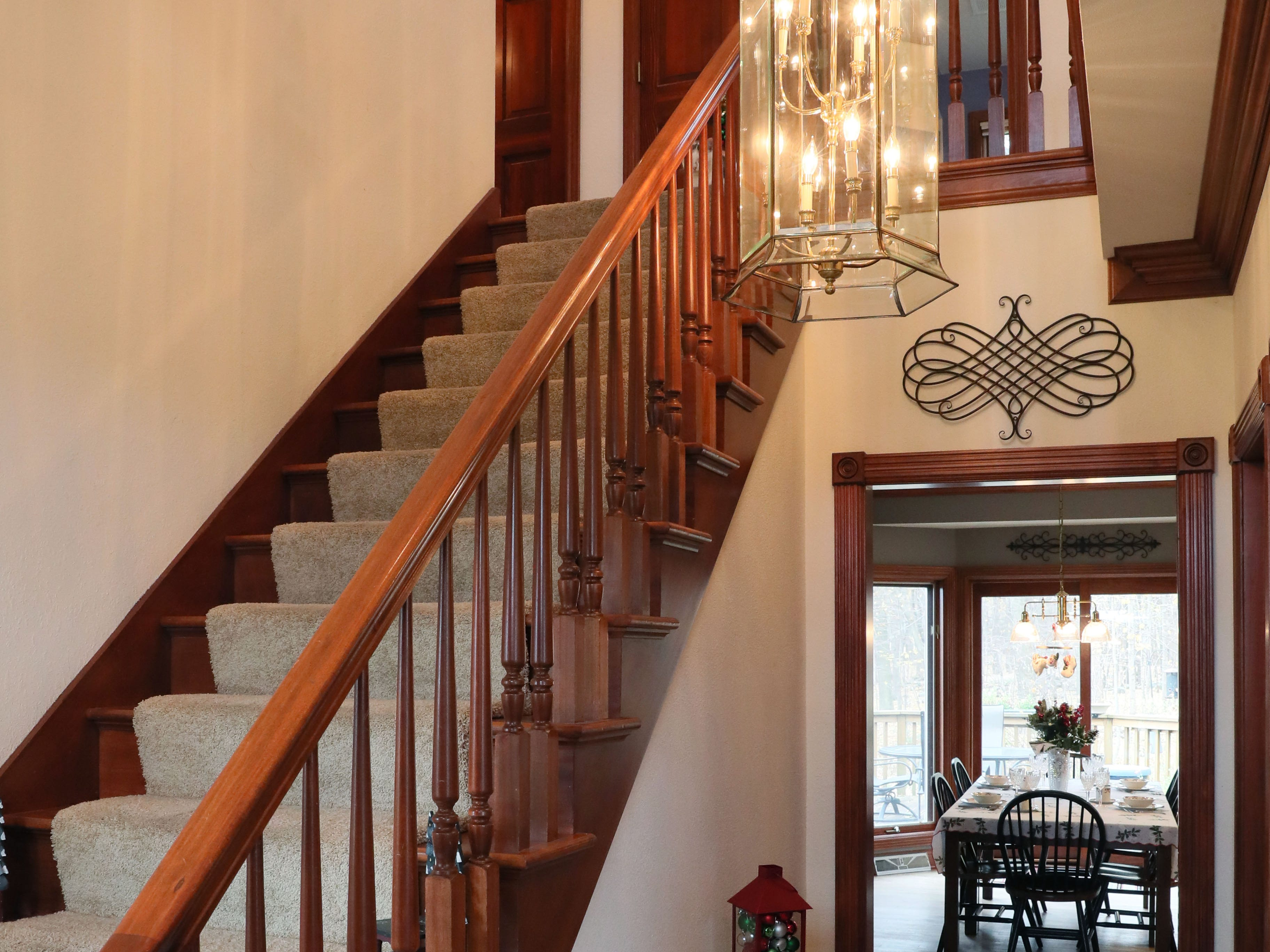 A staircase leads to the second floor of the Town of Erin home.