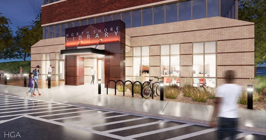 The $4.2 million renovation of the North Shore Library will include a more prominent, well-lit entrance.