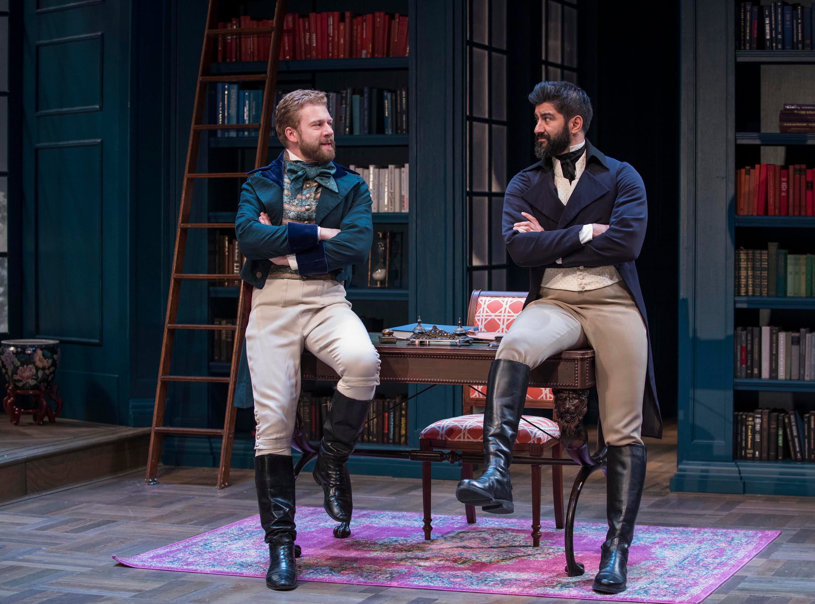 "Fred Geyer and Yousof Sultani exchange pleasantries in Milwaukee Repertory Theater's ""Miss Bennet: Christmas at Pemberley."""
