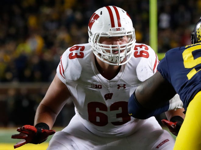 Wisconsin offensive lineman Michael Deiter has started 21 games at left guard, 16 at center and last season started all 14 games at left tackle.