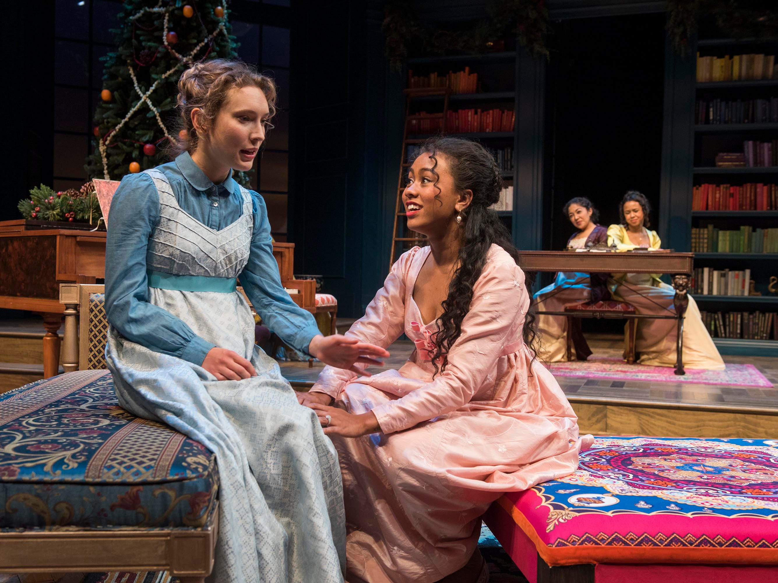 "Rebecca Hurd (left) speaks with Netta Walker in Milwaukee Repertory Theater's ""Miss Bennet: Christmas at Pemberley."""
