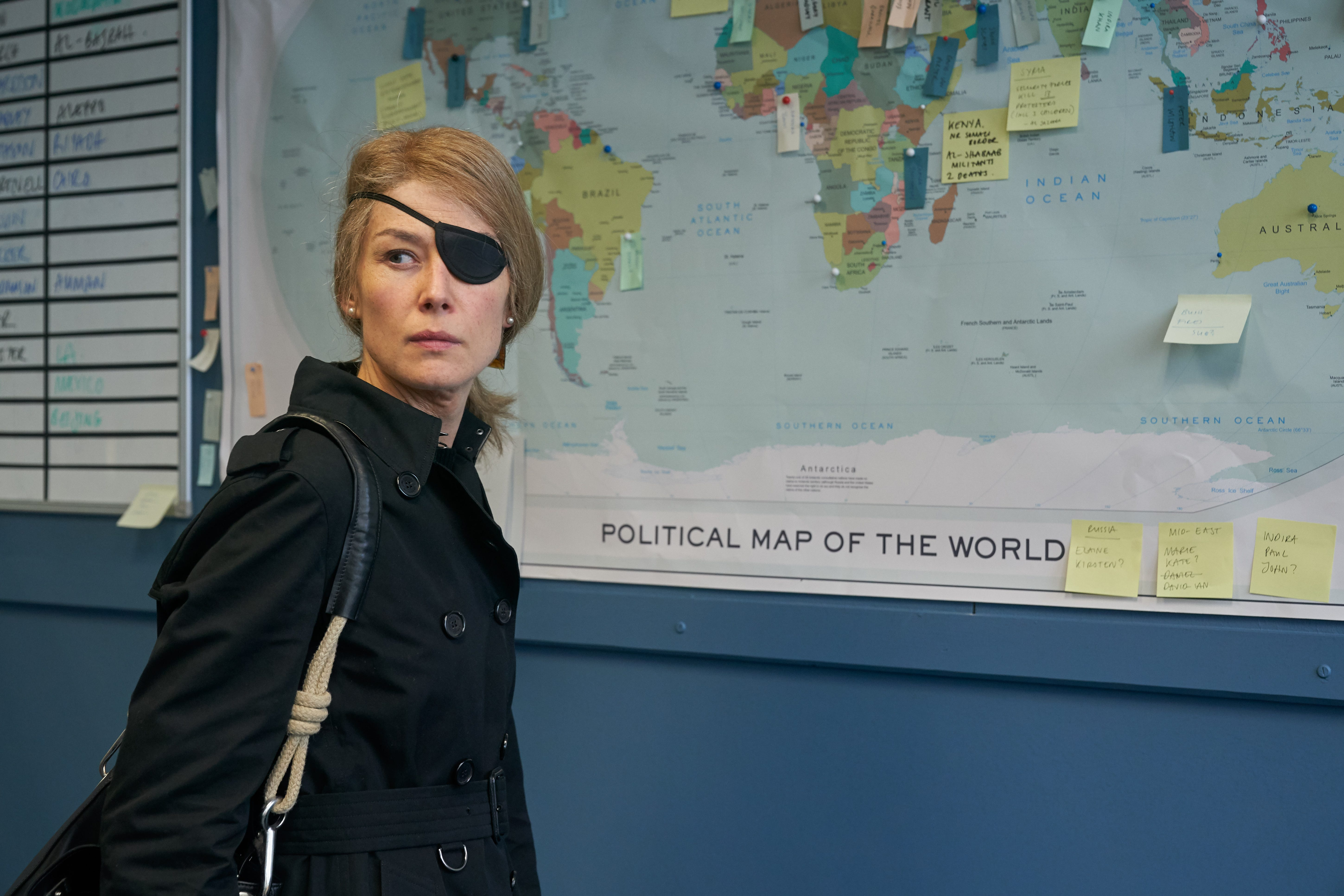"""Sunday Times war correspondent Marie Colvin (Rosamund Pike) plots her next move in """"A Private War."""""""