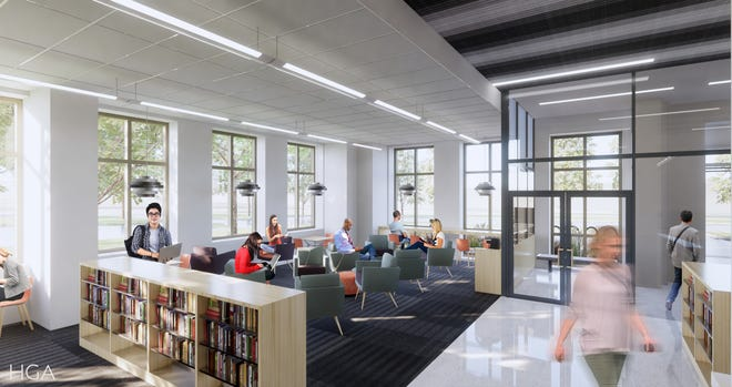The $4.2 million renovation of the North Shore Library will include a light-filled adult living room for quiet reading, conversation or work on a laptop.