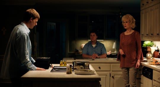 "Lucas Hedges (from left) plays a teenager who comes out to his disapproving parents (Russell Crowe, Nicole Kidman) in ""Boy Erased."""