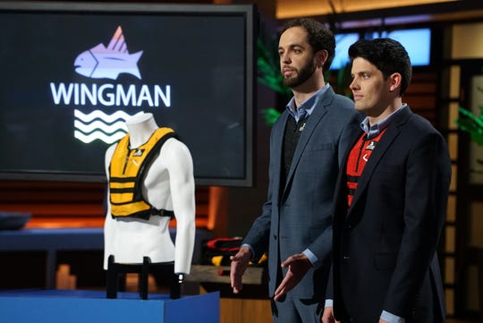 """Mike Fox and Pat Hughes pitch their Hyde Sportswear to experts on """"Shark Tank"""" in January 2018."""