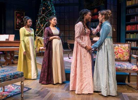 """Margaret Ivey (left), Sarai Rodriguez, Netta Walker and Rebecca Hurd portray sisters in Milwaukee Repertory Theater's production of """"Miss Bennet: Christmas at Pemberley."""""""