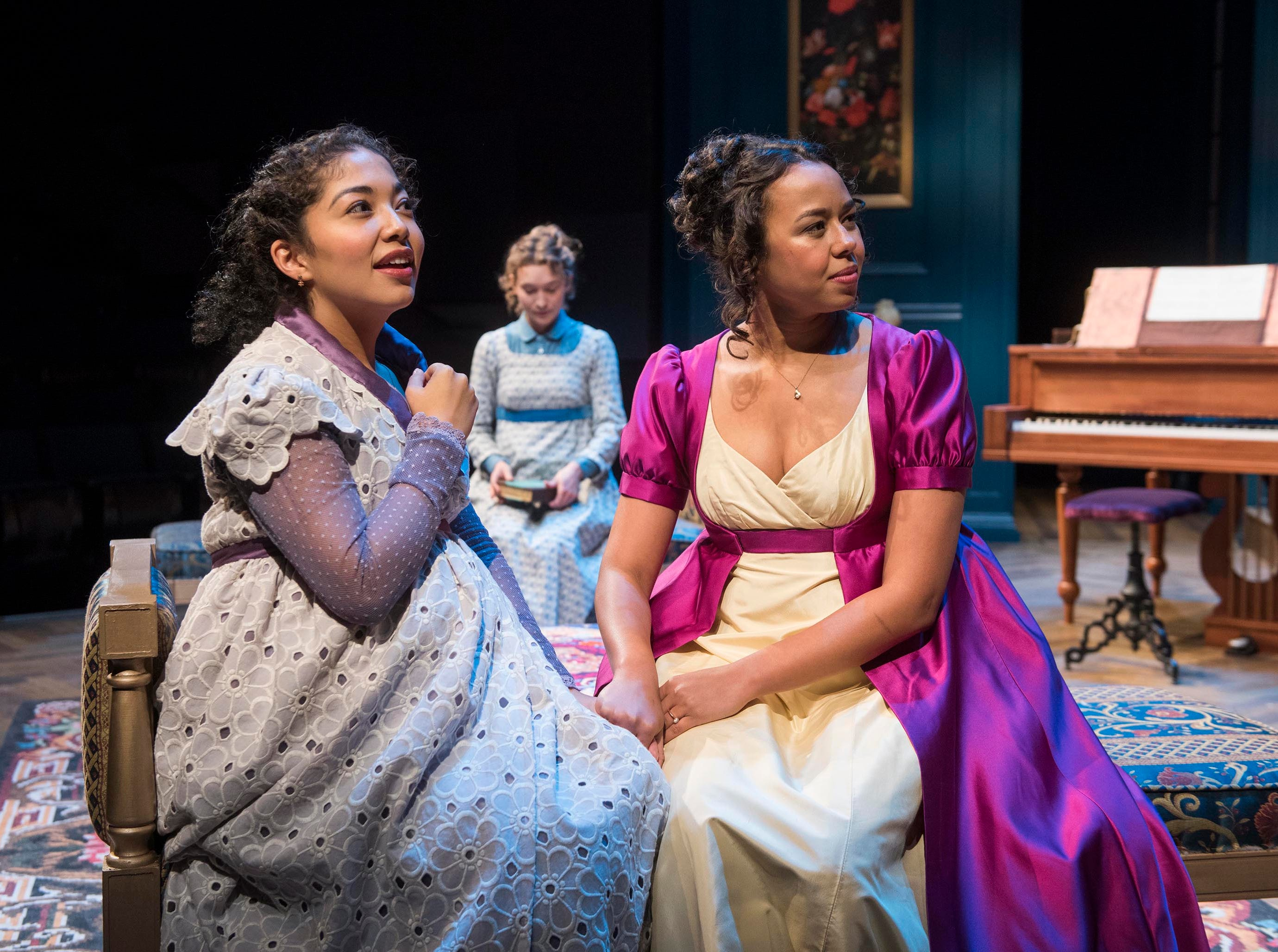 "Sarai Rodriguez (left), Rebecca Hurd (back) and Margaret Ivey portrayed sisters in Milwaukee Repertory Theater's ""Miss Bennet: Christmas at Pemberley."""