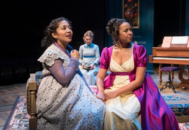 """Sarai Rodriguez (left), Rebecca Hurd (back) and Margaret Ivey portrayed sisters in Milwaukee Repertory Theater's """"Miss Bennet: Christmas at Pemberley."""""""