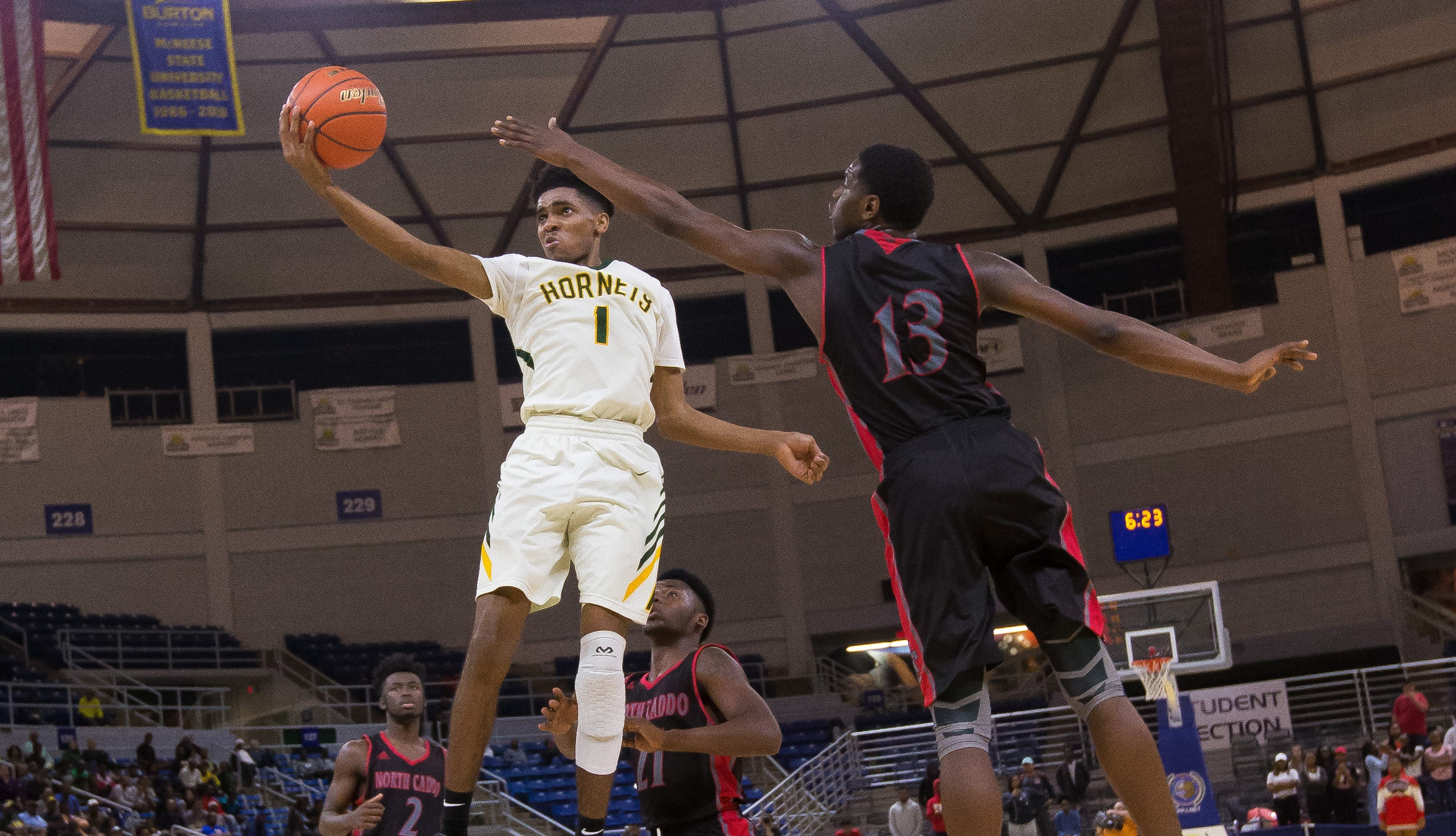 Rayville's Mylik Wilson goes up for a shot against North Caddo in the Class 2A state final.