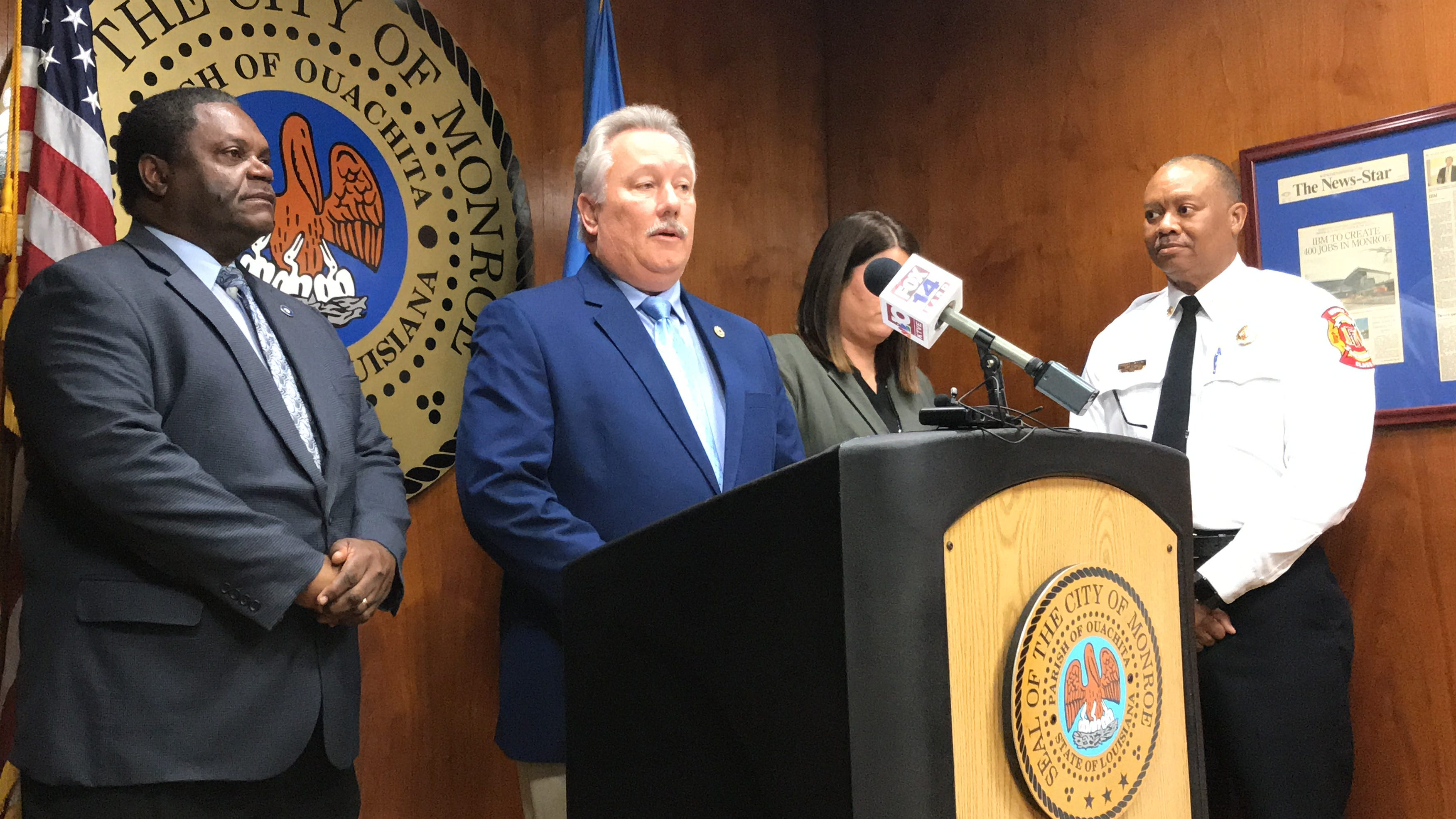 Perry Jeselink, President of the Monroe Fire Fighters Local #629 of the International Association of Firefighters, discusses a union contract moving to the Monroe City Council for introduction on Tuesday.