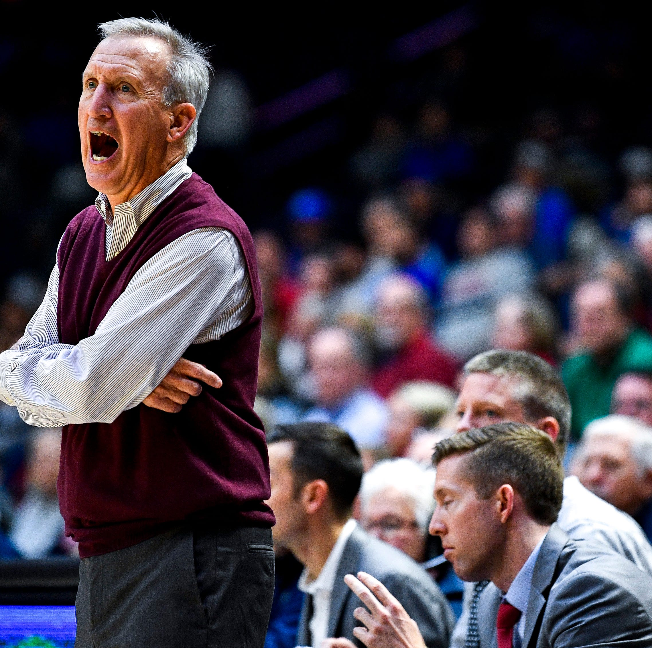 Belmont head coach Rick Byrd works with his team against MTSU during the first half at the Curb Event Center Arena in Nashville, Tenn., Monday, Nov. 12, 2018.