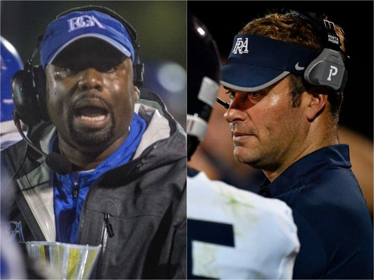 Battle Ground Academy coach Roc Batten (left) and Franklin Road Academy coach Bill Whittemore (right)