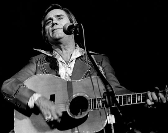 George Jones performs during the CBS Records dinner and show at Municipal Auditorium on Oct. 21, 1968.