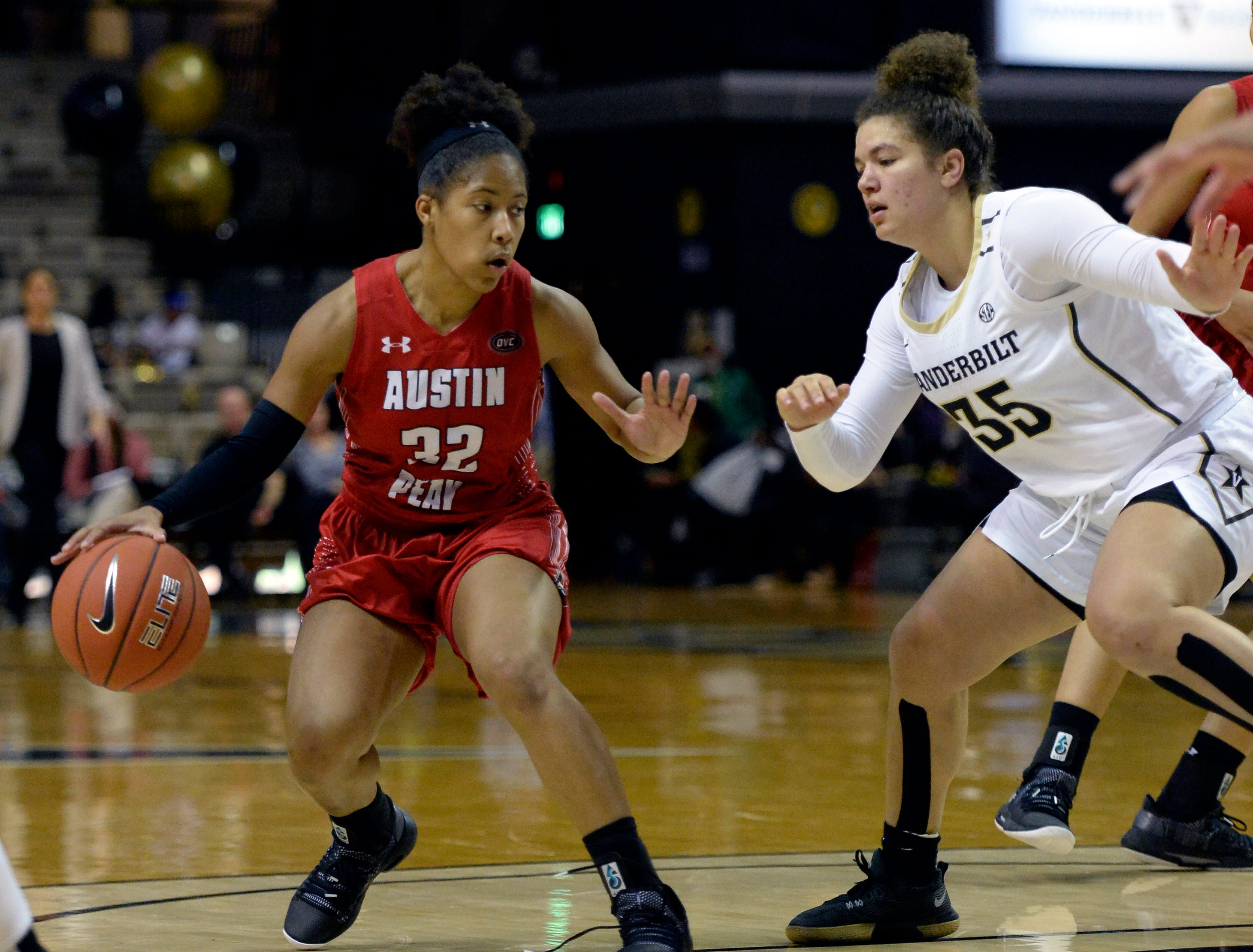 Austin Peay guard Brianah Ferby (32) is defended by Vanderbilt guard Kaleigh Clemons-Green (35) during the second half of an NCAA college basketball game Monday, Nov. 12, 2018, in Nashville, Tenn. Vanderbilt won 99-70.