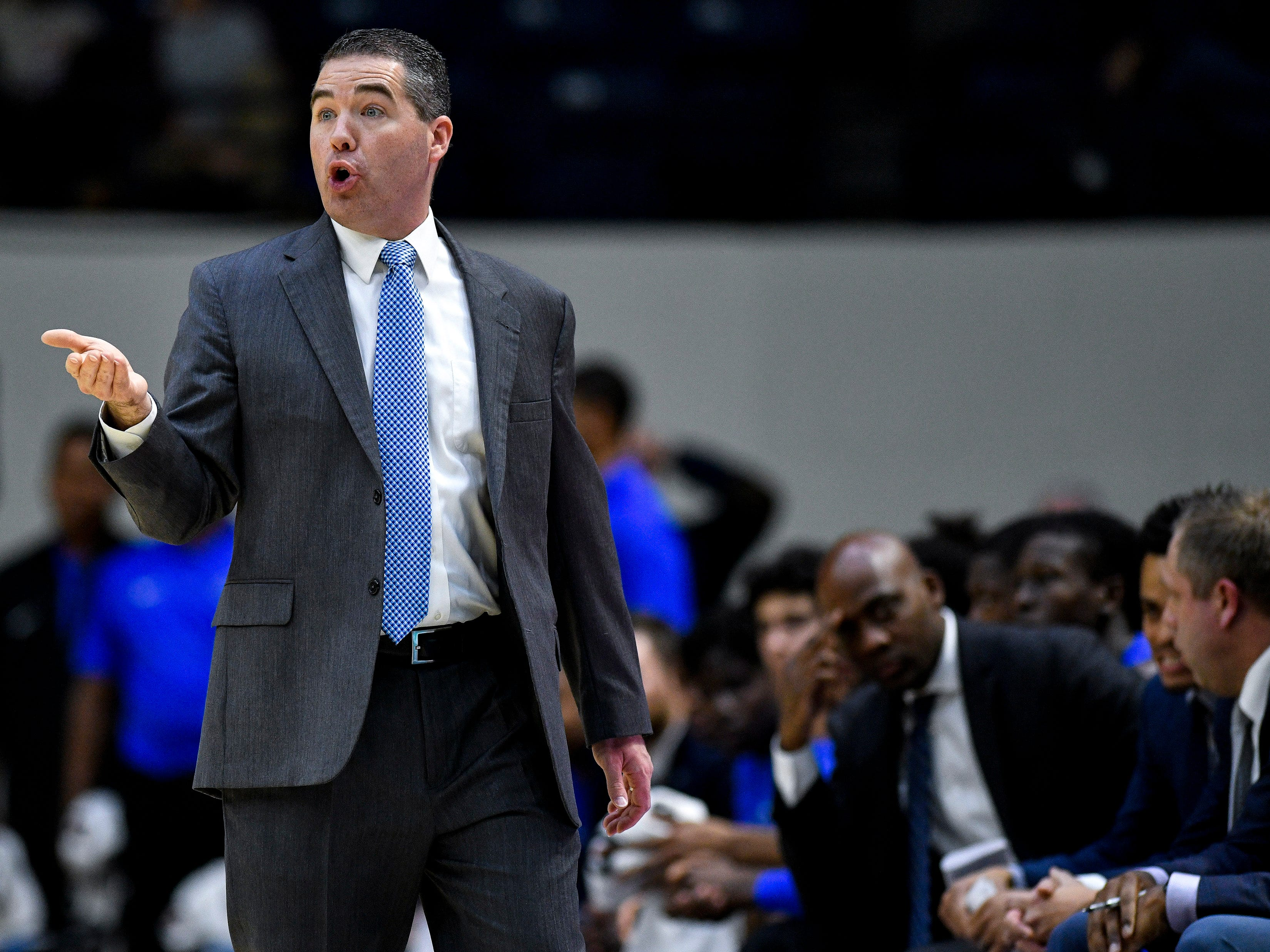 MTSU head coach Nick McDevitt works with his team against Belmont during the first half at the Curb Event Center Arena in Nashville, Tenn., Monday, Nov. 12, 2018.