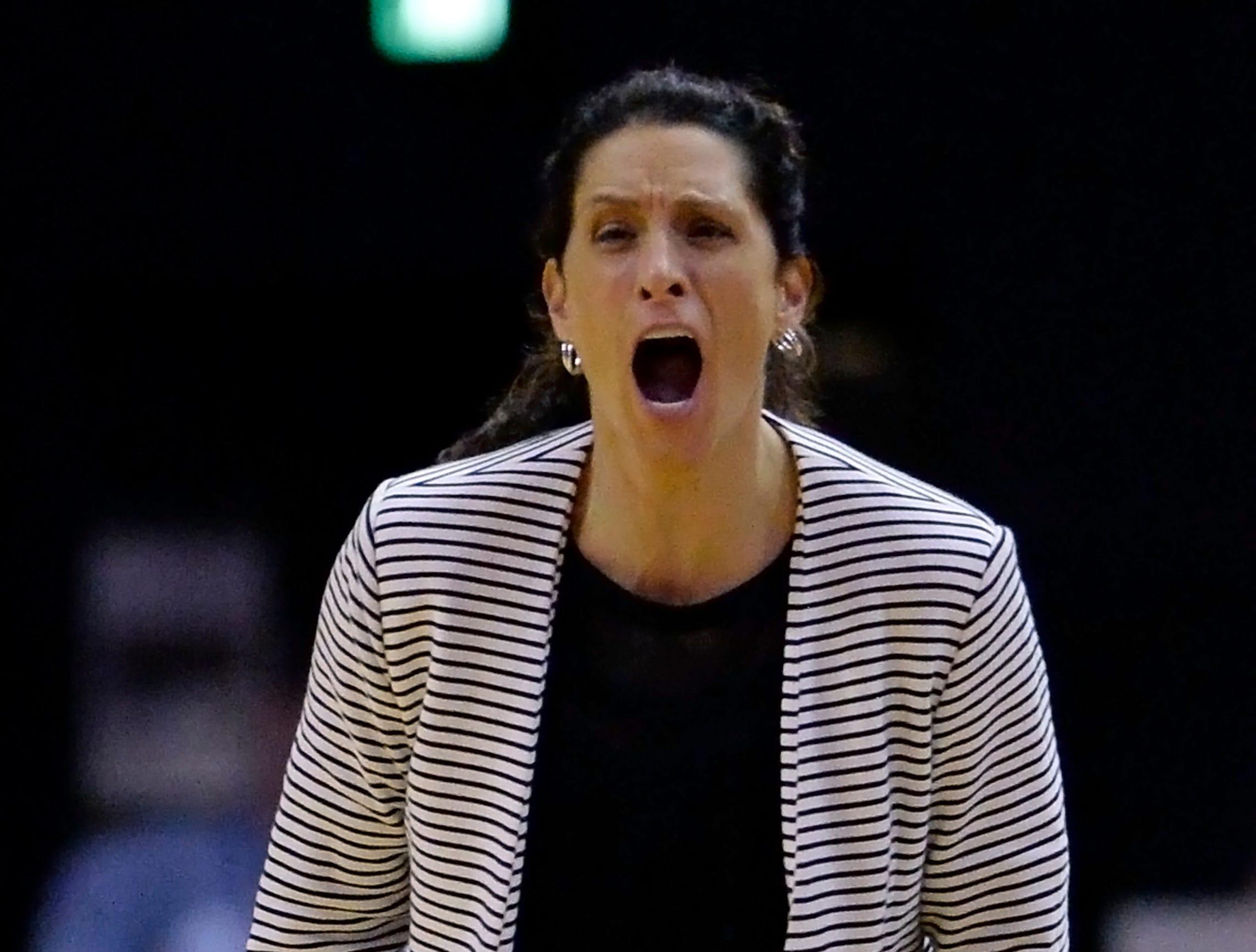 Vanderbilt head coach Stephanie White yells to her players during the second half of an NCAA college basketball game against Austin Peay Monday, Nov. 12, 2018, in Nashville, Tenn. Vanderbilt won 99-70.