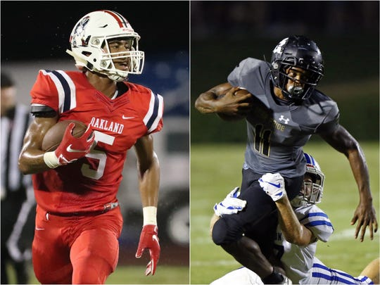 Oakland's Woodi Washington (left) and Mt. Juliet's Colby Martin (right)