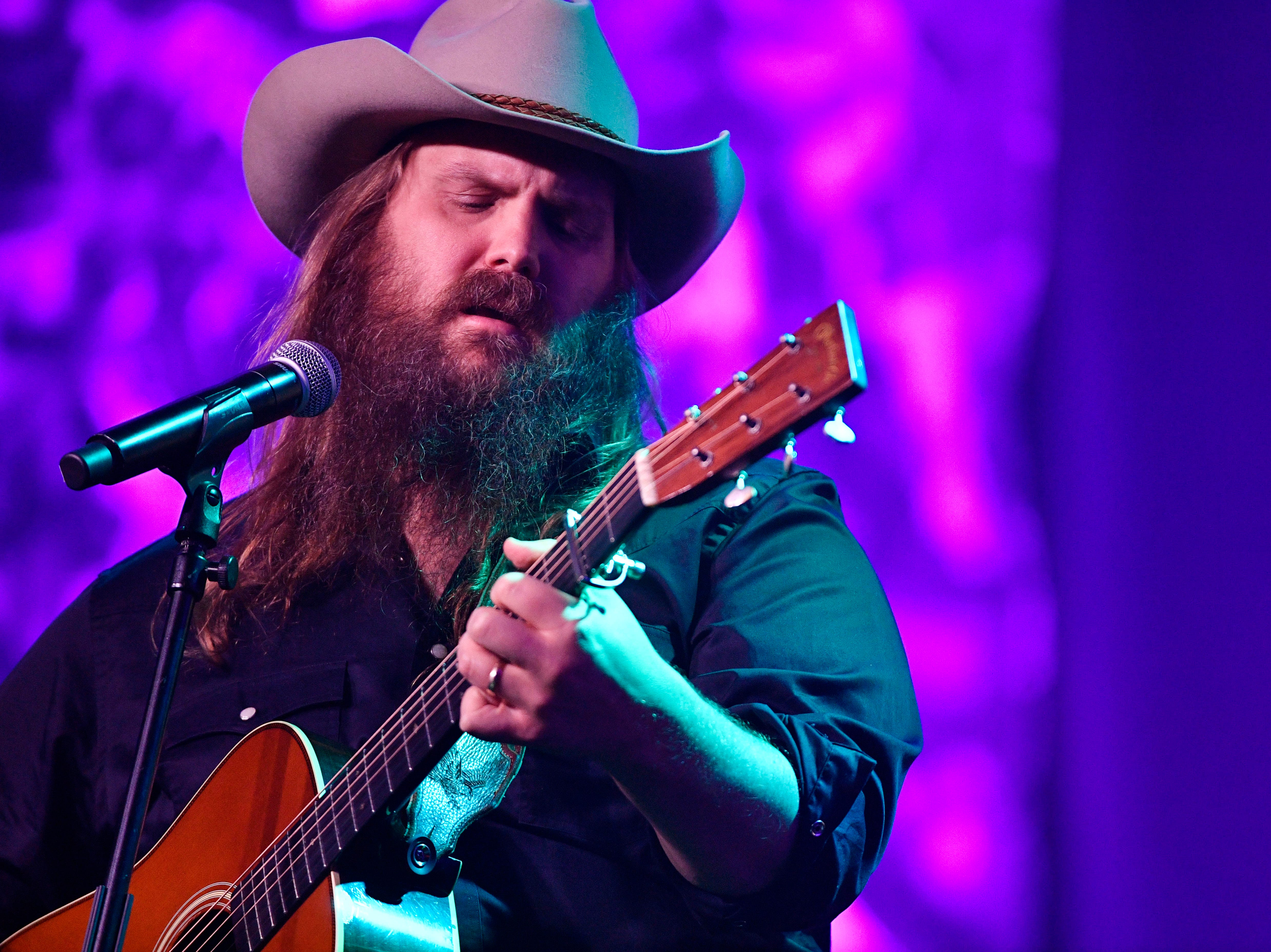 """Chris Stapleton performed""""Does My Ring Burn Your Finger,"""" at the 2018 ASCAP Country Music Awards at the Renaissance Hotel Monday Nov. 12, 2018, in Nashville, Tenn."""