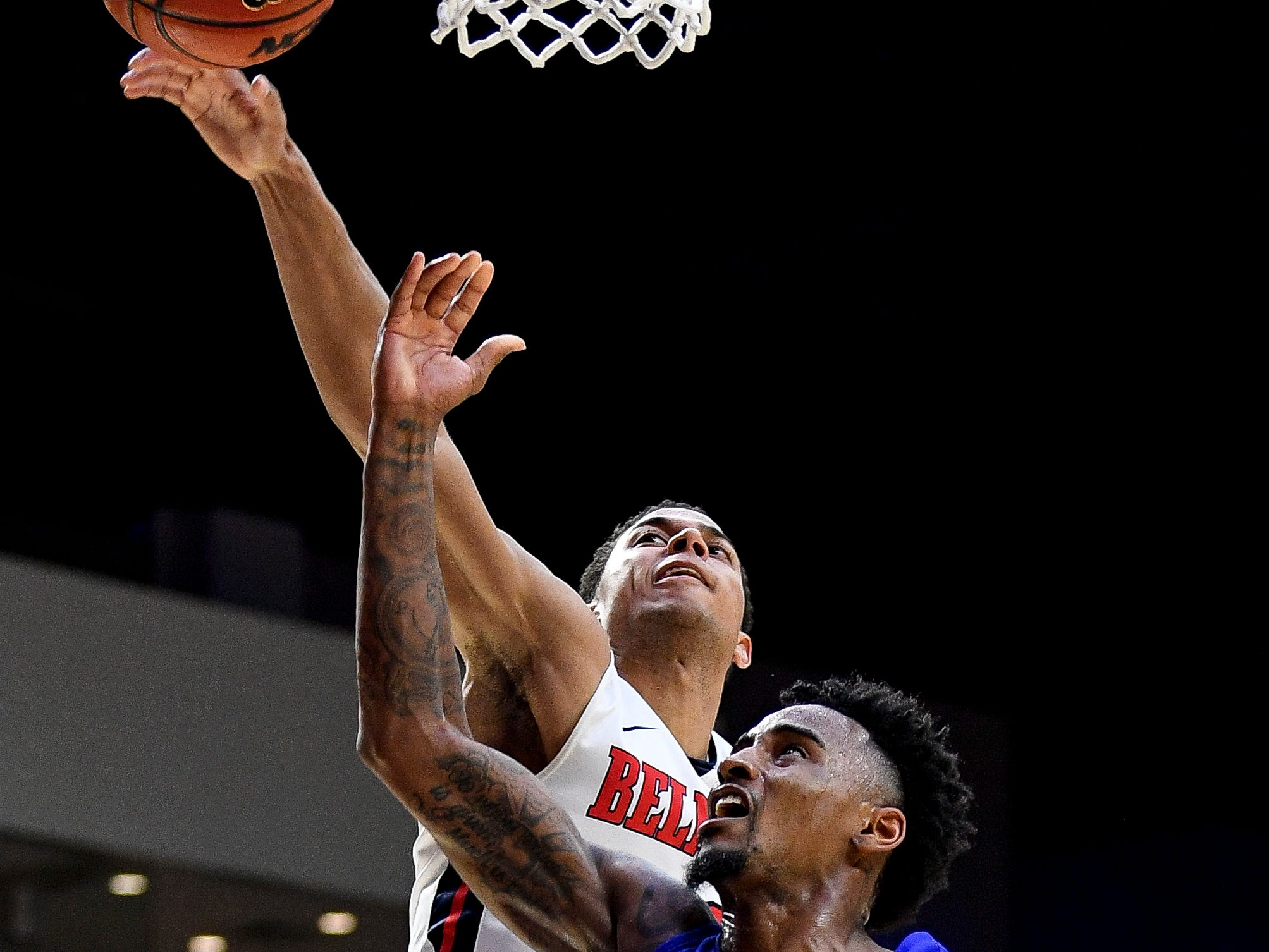 Belmont guard Kevin McClain (11) blocks a shot from MTSU guard Antonio Green (55) during the second half at the Curb Event Center Arena in Nashville, Tenn., Monday, Nov. 12, 2018.