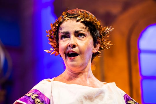 """Michele Ragusa rehearses a musical number for Gulfshore Playhouse's upcoming production of """"A Funny Thing Happened on the Way to the Forum"""" at The Norris Center in Naples on Tuesday, Nov. 13, 2018."""