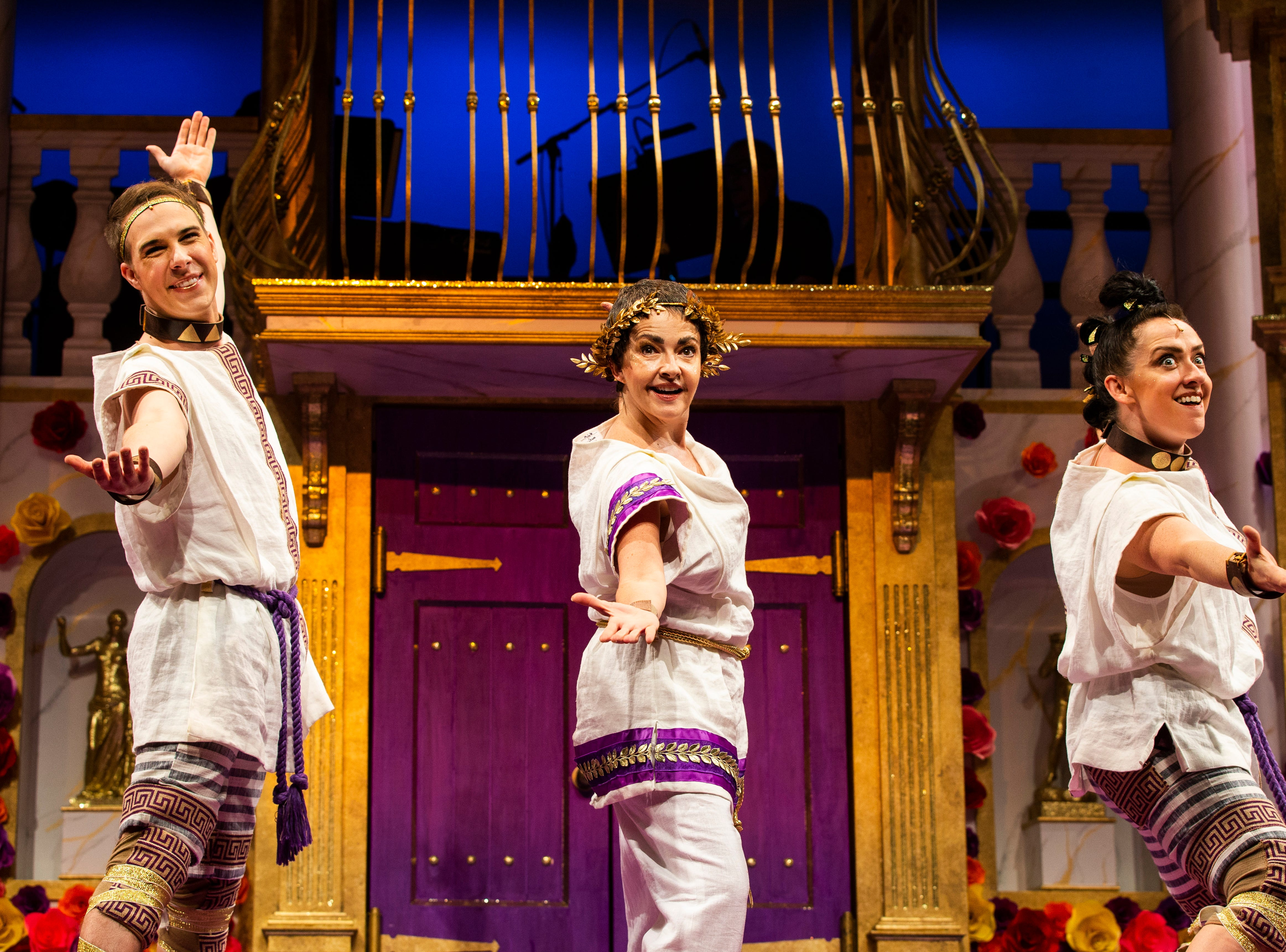 """John Wascavage, from left, Michele Ragusa and Kristen Mengelkoch rehearse a scene for Gulfshore Playhouse's upcoming production of """"A Funny Thing Happened on the Way to the Forum"""" at The Norris Center in Naples on Tuesday, Nov. 13, 2018."""