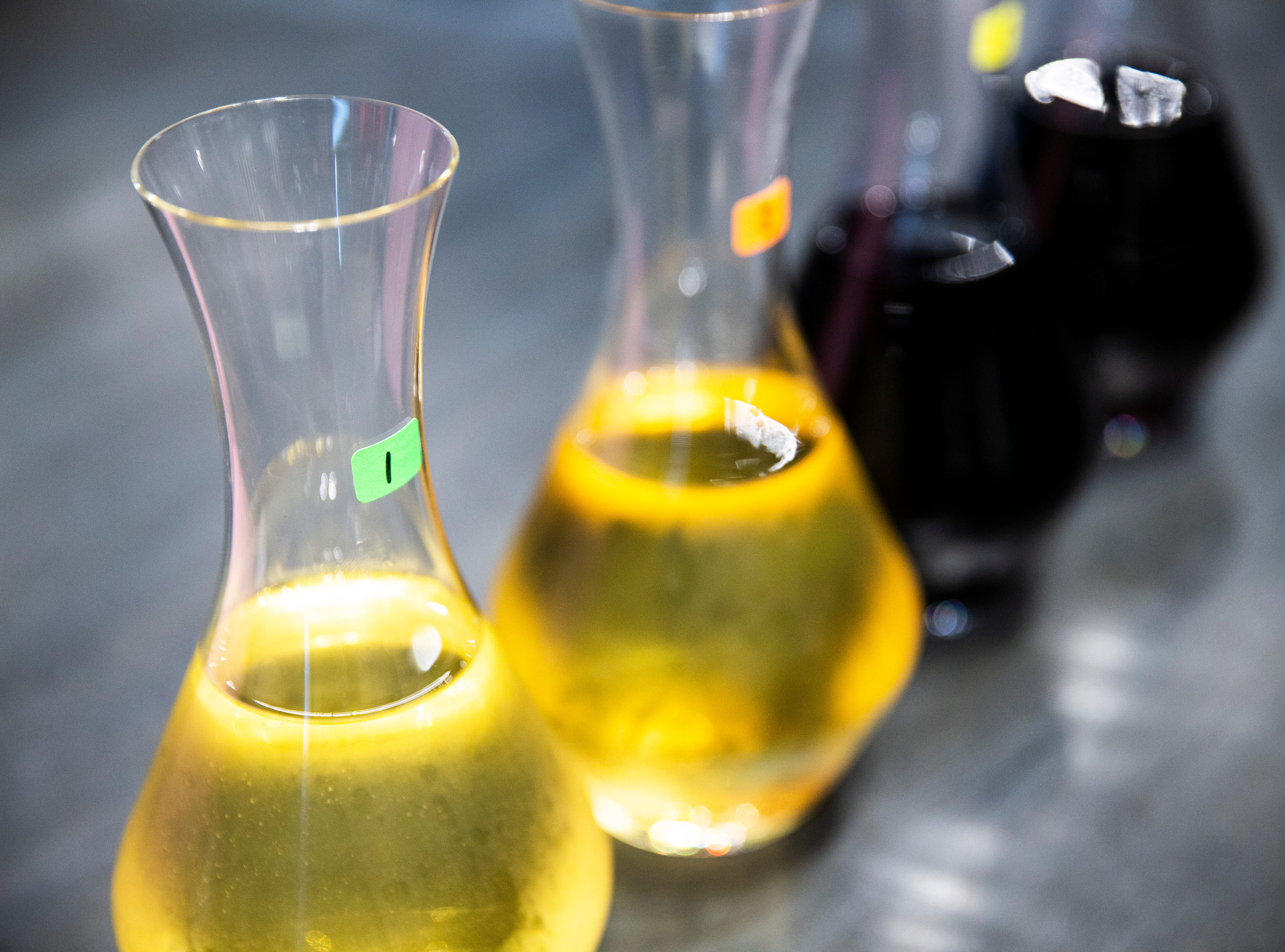 Numbers identify the four varieties of wine that were used in a blind taste-test during the Somms Showdown, organized by Break Thru Beverage Group, at The Cave Bistro & Wine Bar in Naples on Tuesday, Nov. 13, 2018.