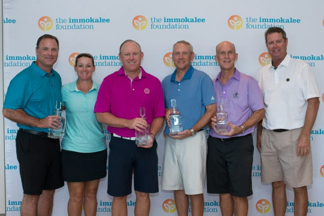 Steve Thompson, Patrick Trittler, Paul Belfore and David Gordley, with golf pros Paul Azinger and Kristy McPherson, won the Immokalee Foundation Charity Classic Pro-Am on Monday, Nov. 12, 2018 at Bay Colony Golf Club.