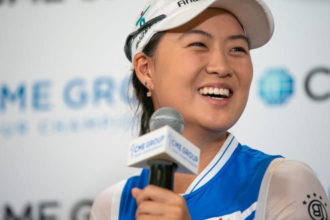 LPGA player, Minjee Lee, smiles as she aswers question during a press conference at the media center of Tiburón Golf Club in Naples, Florida. Tuesday, Nov. 13, 2018. Lee is currently ranked fifth in the world.