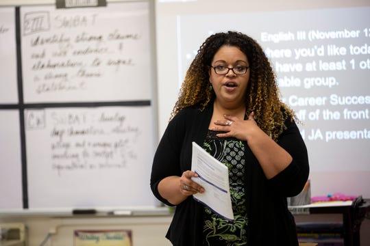 Megan Dixon, an ambassador for Junior Achievement of Southwest Florida, talks to a class of Estero High School juniors about the Junior Achievement program, Tuesday, Nov. 13, 2018 in Estero, Florida.