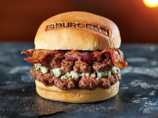 The new Steakhouse Bleu Burger features double natural angus patties, Danish bleu cheese, cracked pepper bacon, Cabernet onion marmalade and steak sauce at BurgerFi.