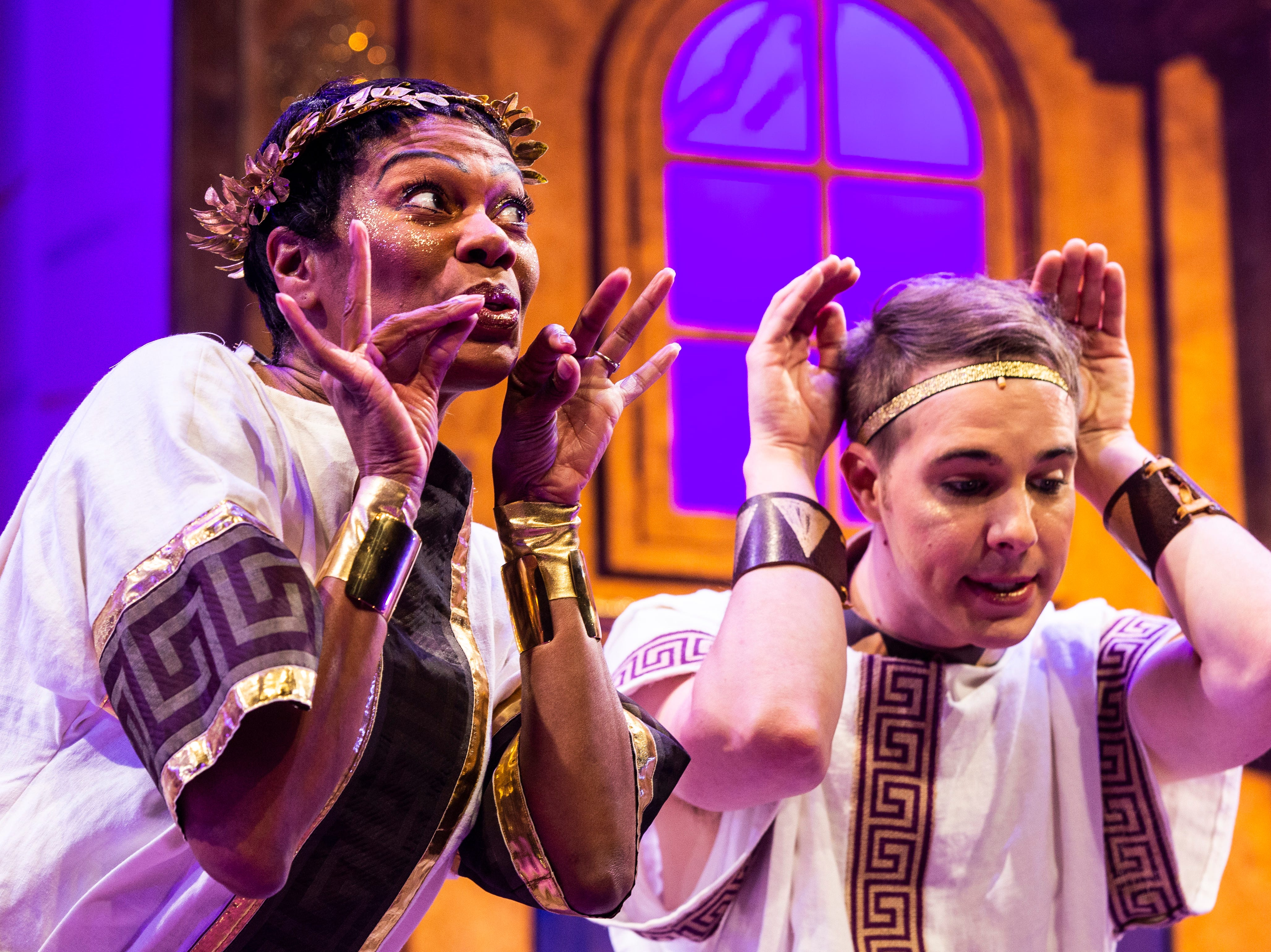 """Stephanie Pope and John Wascavage rehearse a scene for Gulfshore Playhouse's upcoming production of """"A Funny Thing Happened on the Way to the Forum"""" at The Norris Center in Naples on Tuesday, Nov. 13, 2018."""