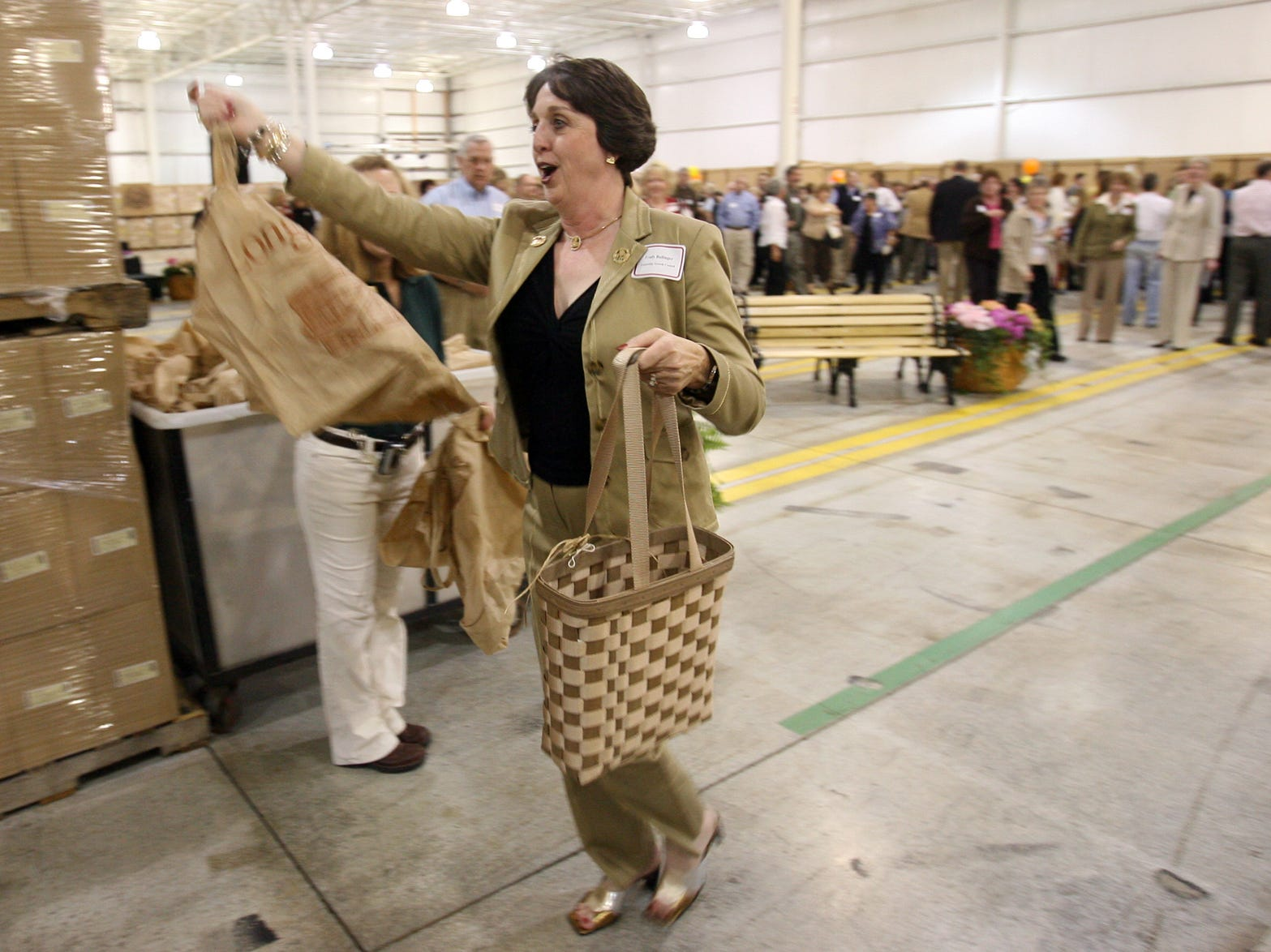Longaberger sales consultant Trudy Ballinger is among the first to shop at the new Longaberger Factory Store.