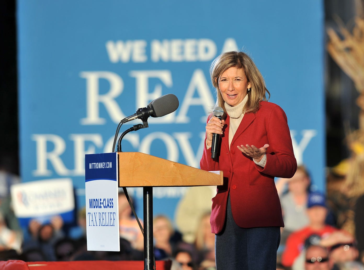 Longaberger Company CEO Tami Longaberger speaks at a campaign rally for Republican presidential candiate Mitt Romney and running mate Paul Ryan Friday night, Oct. 12, 2012, in downtown Lancaster.