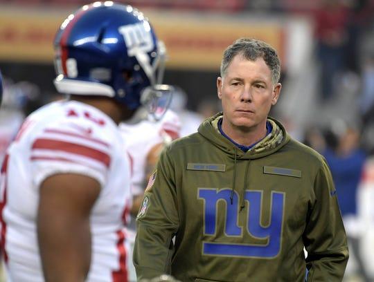Nov 12, 2018; Santa Clara, CA, USA; New York Giants head coach Pat Shurmur reacts during the game against the San Francisco 49ers at Levi's Stadium.