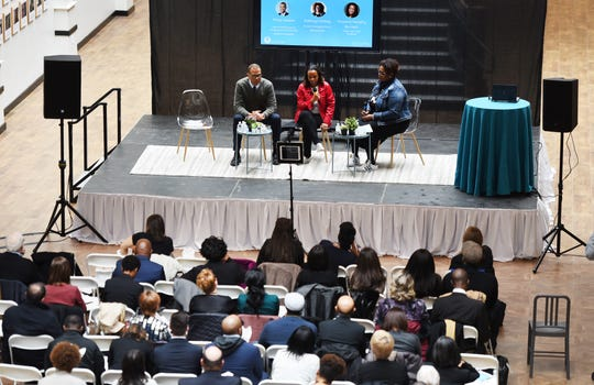(L to R), Philip Gaskin, Cheif of Staff/Director of Entrepreneurial Communities, Tawana Murphy Burnett, Global Team Lead, Facebook and Kathryn Finney, Founder & Managing Director, digitalundivided, discuss about the future of Newark  during the Startup Newark Symposium at Hahne & Co. building in Newark on 11/13/18.