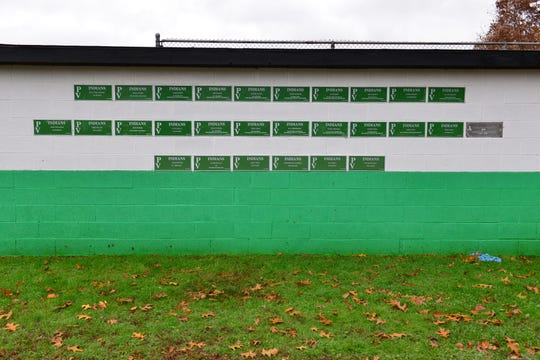 Racial and homophobic scratching found on plaques at the third base dugout at Pascack Valley High School baseball field in Hillsdale on Tuesday morning November 13, 2018.