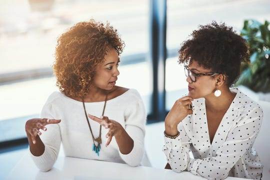 Maintaining eye contact during conversation and taking the time to listen is important when speaking with a person who stutters.
