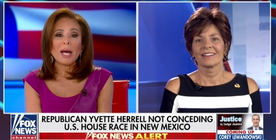 """Justice with Judge Jeanine"" host Jeanine Pirro, left, interviews New Mexico state Rep. Yvette Herrell, R-Alamogordo, on Saturday, November 10, 2018."