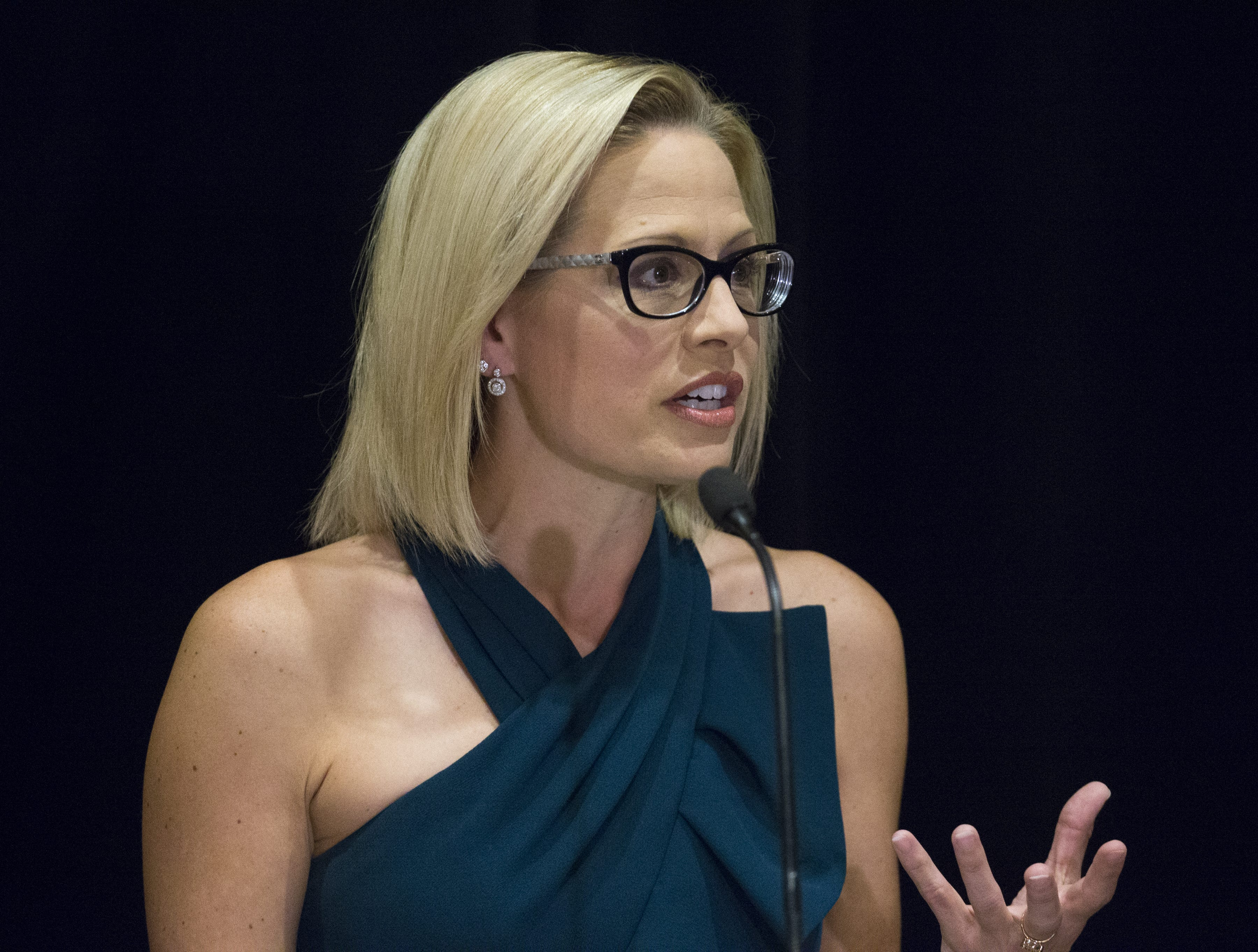 Kyrsten Sinema speaks to the press after the Associated Press declared her the winner of the U.S. Senate race against Martha McSally. 2018.