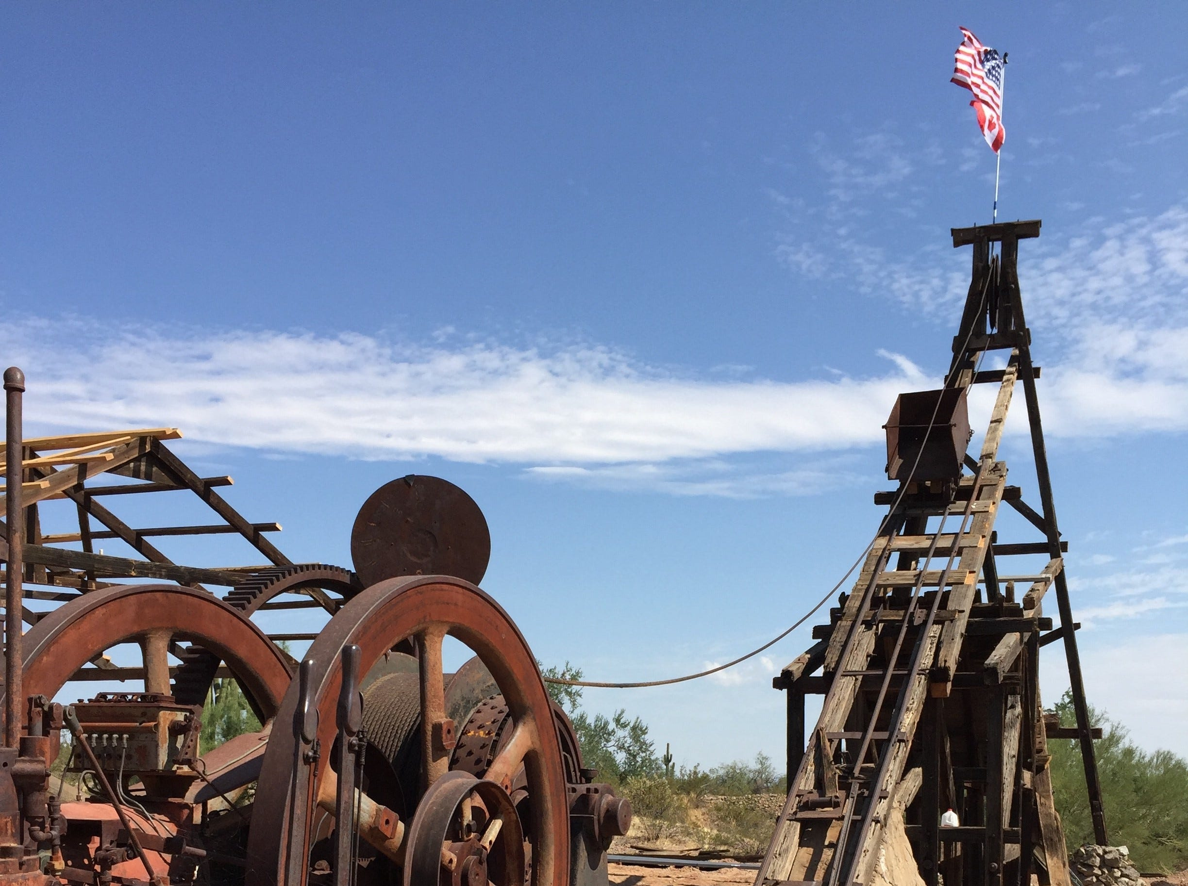 Visitors to Vulture City outside Wickenburg can explore weathered buildings and historic equipment.