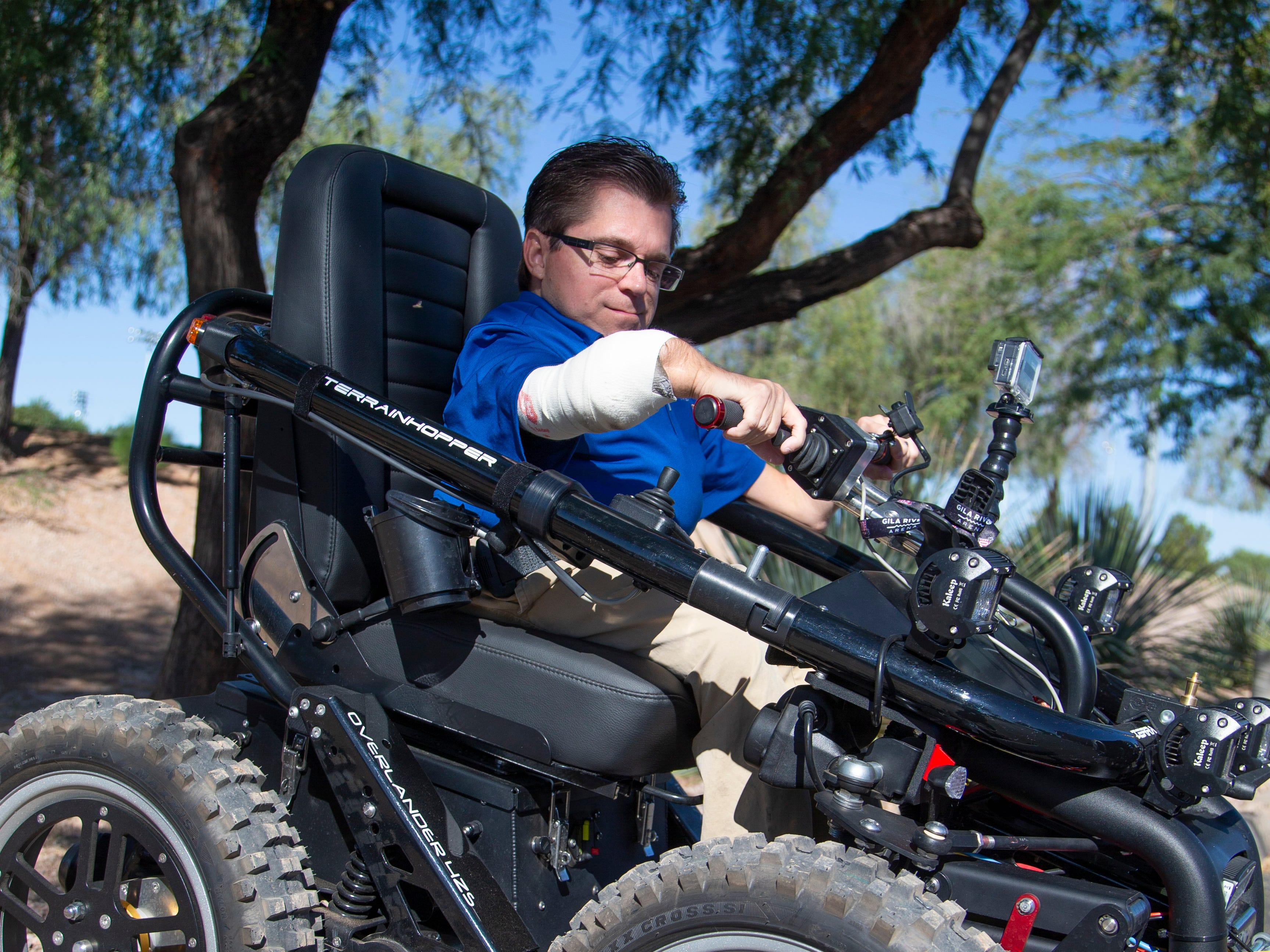 Todd Lemay, owner of TerrainHopper USA, demonstrates how the all-terrain vehicle works for people with disabilities or everyday mobility issues.