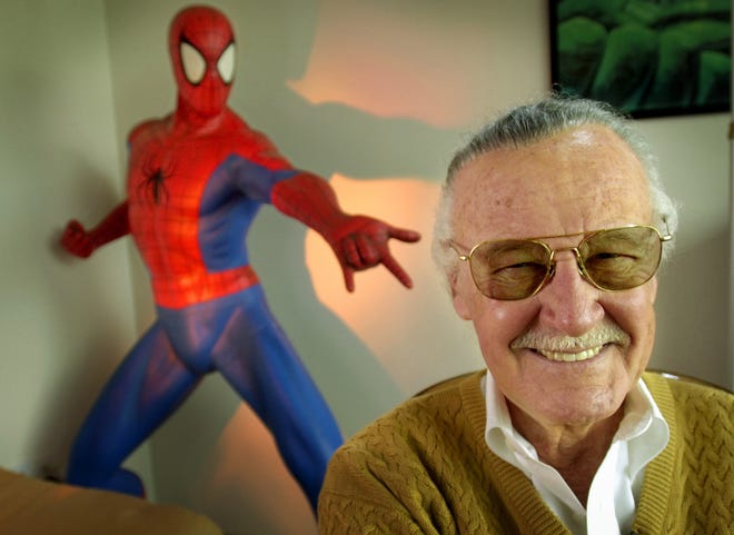 """In this April 16, 2002, file photo, Stan Lee, 79, creator of comic-book franchises such as """"Spider-Man,"""" """"The Incredible Hulk"""" and """"X-Men,"""" smiles during a photo session in his office in Santa Monica, California. Lee, the architect of the contemporary comic book, has died. He was 95."""