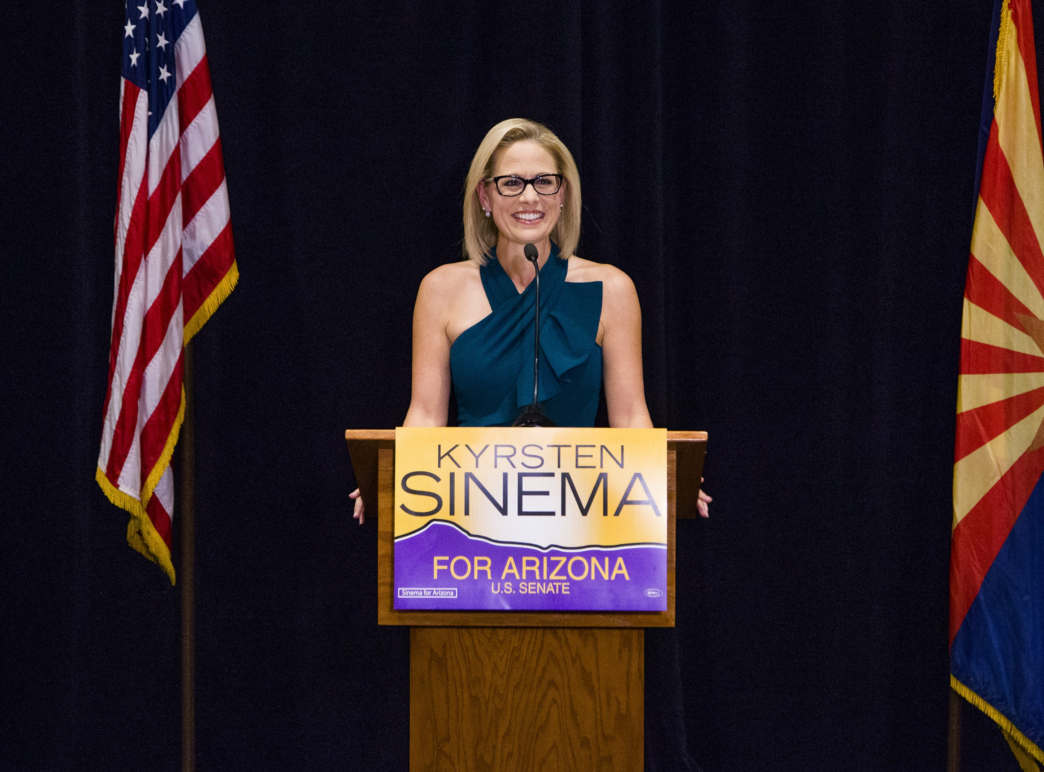 Kyrsten Sinema speaks to the press after the Associated Press declared her the winner of the U.S. Senate race against Martha McSally. The press conference was held at the Omni Scottsdale Resort & Spa at Montelucia in Scottsdale, Monday, November 12, 2018.