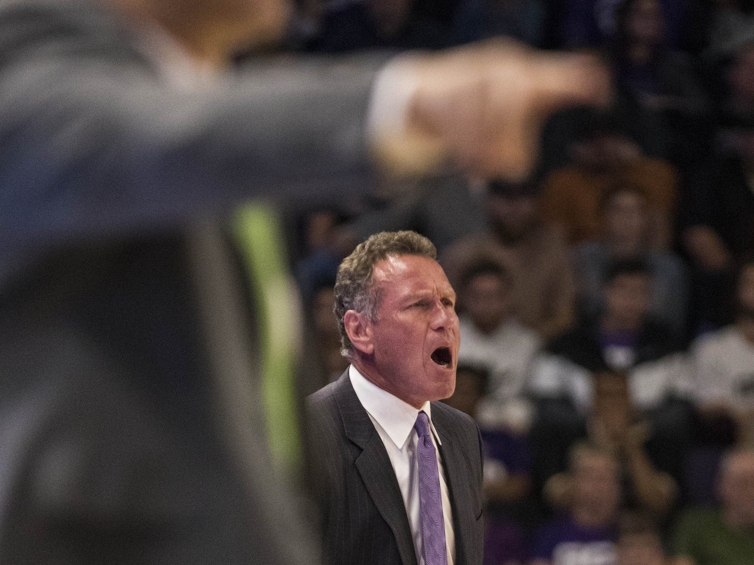 Grand Canyon University head coach Dan Majerle gets a little hot under the collar as Jacksonville ties his Lopes during the first half of their game in Phoenix, Monday, Nov.11,  2018.
