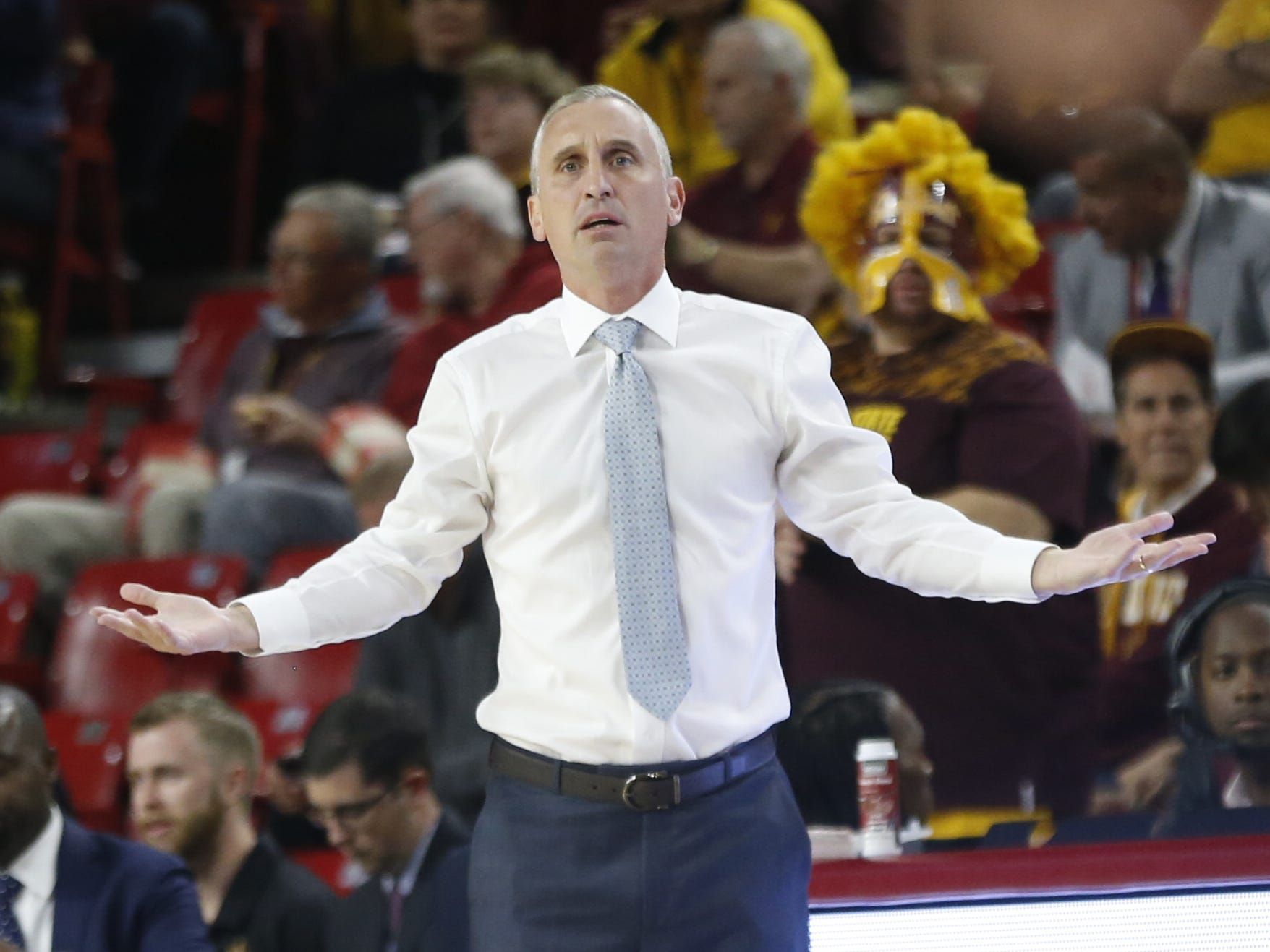 Arizona State head coach Bobby Hurley argues with an official during the first half against Long Beach State at Wells Fargo Arena in Tempe, Ariz. on November 12, 2018.