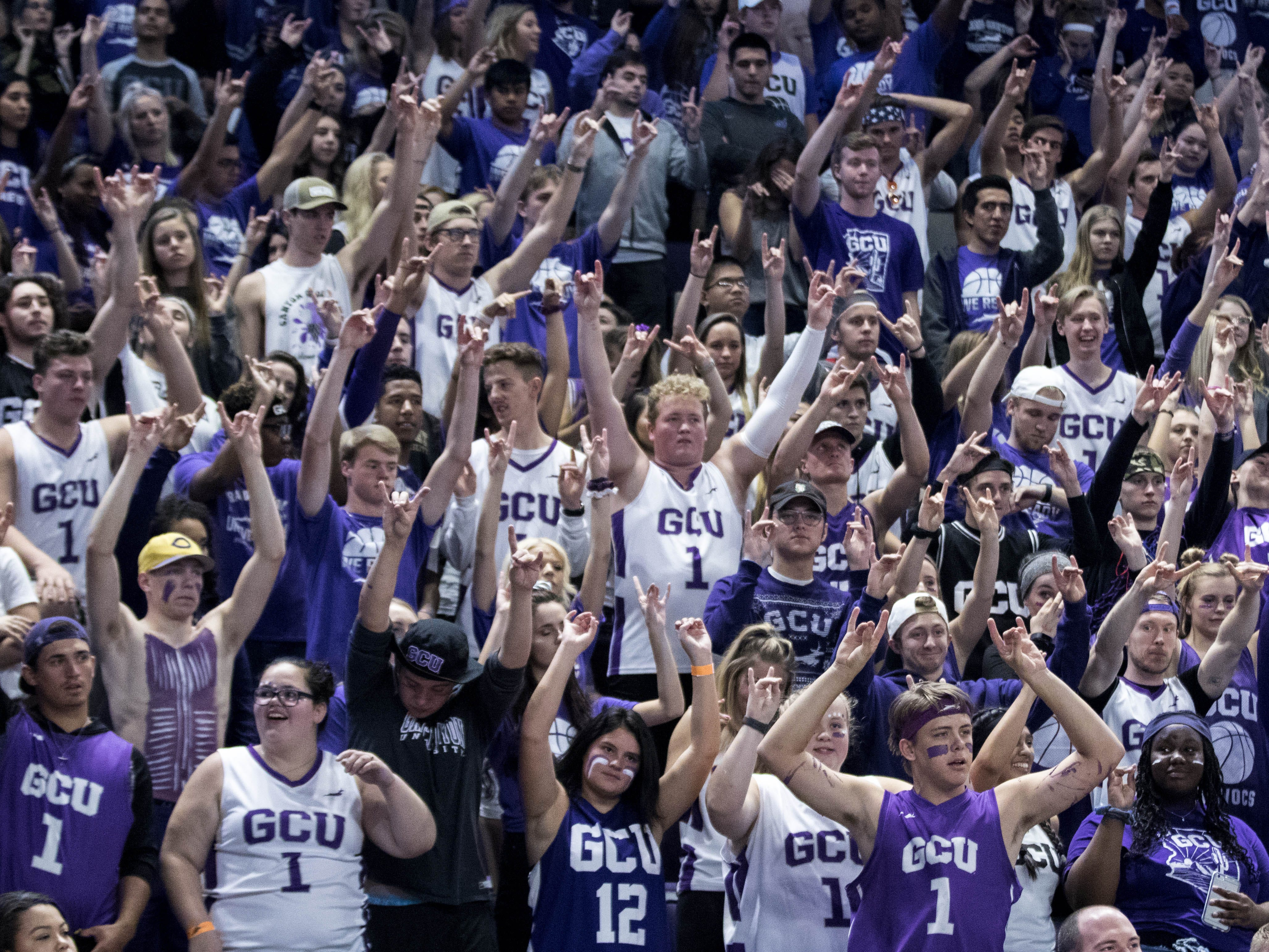 "Grand Canyon University's student section does ""Lopes Up"" as they take a free throw during second half of their game in Phoenix, Monday, Nov. 11, 2018."